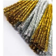 100 Gold And Silver Pipe Cleaners 30cm x 6mm