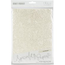 Craft Perfect Handcrafted Cotton Papers A4 5/Pkg-Ivory Bouquet