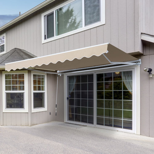 Outsunny Retractable Awning, 4x2,5 m-Cream White