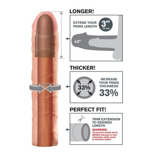 """Fantasy X-tensions Real Feel 9"""" Penis Extension Cock Sleeve in Nude"""