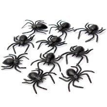 10 Black Plastic Halloween Spiders Party Horrible Loot Toys Decoration Set