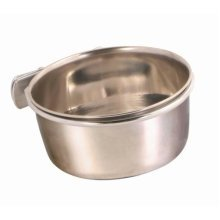 Trixie Stainless Steel Bowl For Bird With Screw Attachment, 300ml - Holder Food -  steel bowl stainless holder trixie screw bird food water