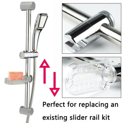 Adjustable Chrome Bathroom Shower Head Holder Riser Rail Bracket Slider Bar Kit