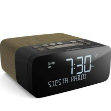 Pure Siesta Rise S Alarm Clock Radio with Bluetooth - Digital DAB+ / FM Radio - USB Phone Charging - CrystalVue Auto-dimming Display - Gold