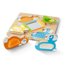 Melissa and Doug First Play Wooden Touch and Feel Puzzle Peek-a-Boo Pets Mirror