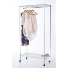 2 Tier Metal Heavy Duty Clothes Rail With Wheels x 2 Shelves - Silver
