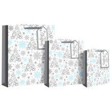 Eurowrap Xmas Snowflake Tree Bags - Medium -  eurowrap xmas snowflake tree bags medium