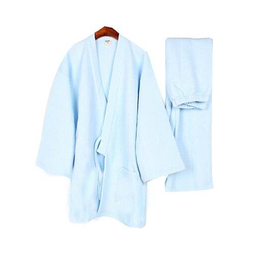 Thickening Pajamas Home Clothes Women 's Kimono Warm Pajamas ,Sky Blue