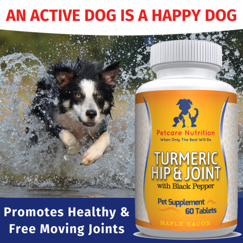 Turmeric Hip & Joint with Black Pepper, 60 Tablets - Cat & Dog Joint Supplements - Maple Bacon Flavour Natural Joint Care for Dogs & Cats