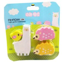 Set of 4 Lovely Animal Erasers, Hedgehog&Bird Erasers, Classic Premium Erasers