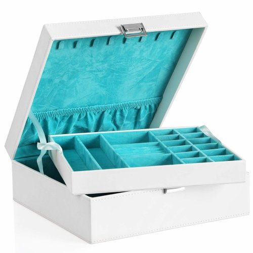Songmics Jewellery Box 2 Layer Jewellery Storage Removable Tray For Earring Ring Bracelet White Jds305w