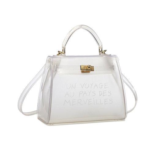 (White) Miss Lulu 'Un Voyage Au Pays Des Merveilles' Vinyl Bag