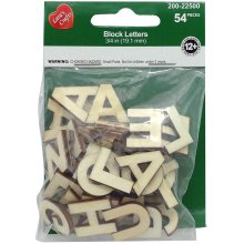 "Wood Alphabet Block Letters .75"" 54/Pkg-Uppercase"