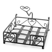 Felicity' Brown Metal Napkin Holder with Heart Design