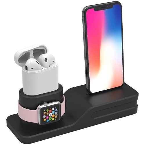 uk availability fd4e6 56f23 Tempo Apple Watch Stand, 3 in 1 Premium Silicone Charger Dock Station for  Apple iWatch Series 1/2/3, AirPods, Compatible with iPhone X/8/8 Plus/7/7...