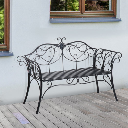 Outsunny Garden Bench Porch Outdoor Seat Chair Backrest Metal Black Park