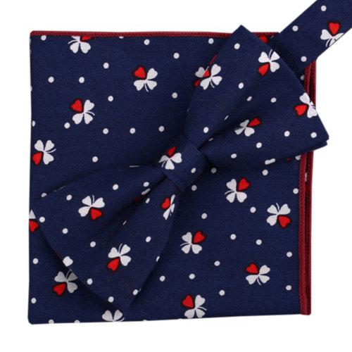 Korean Formal/Informal Bow Tie Pocket Square Casual Cotton Handkerchief #09