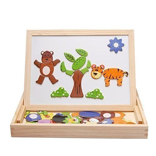 Alytimes Magnetic Puzzle Wooden Animal Travel Easel Dry Erase Chalkboard Toy Kids Imagination