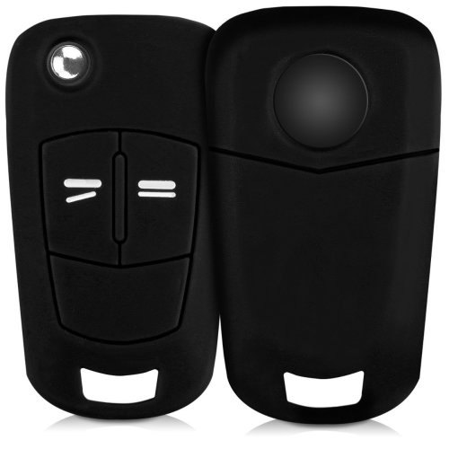 kwmobile Opel Vauxhall Car Key Cover - Silicone Protective Key Fob Cover for Opel Vauxhall 2 Button Car Flip Key - Black