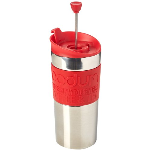 BODUM Travel French Press Coffee Maker, Vacuum, Small, 0.35 L - Red