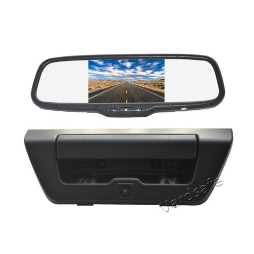 Vardsafe Tailgate Handle Reverse Backup Camera + Clip-on Rear View Mirror Monitor for Ford F150 (2015-2019)