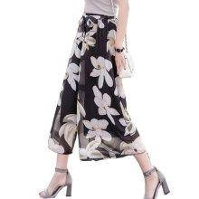 Elegant Summer Thin Pants Floral Print Women Loose Slacks Beach Clothing, #06