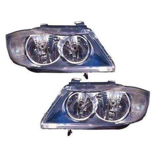 BMW 3 Series E90 Saloon 3/2005-12/2008 Black Headlights Headlamps Pair O/S & N/S