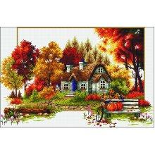 "Needleart World No Count Printed Cross Stitch Kit 22.75""X16""-Autumn Cottage"