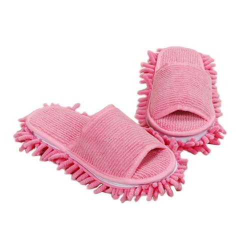 [Pink] Creative Detachable Mop Slippers Floor Cleaning Mopping Shoes