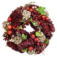 Traditional Red & Gold Glitter Pine Cone, Green Leaf & Berry 23cm Christmas Wreath