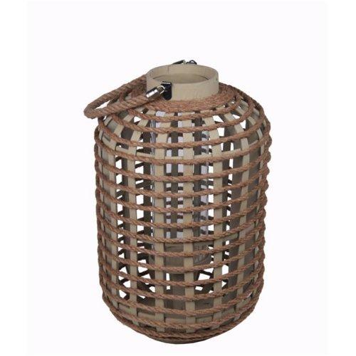 Privilege 88067 Wooden Lantern, Brown - Large