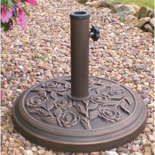 9.5kg 45cm Dia Cast Iron Effect Garden Parasol Base Bronze Rose Design