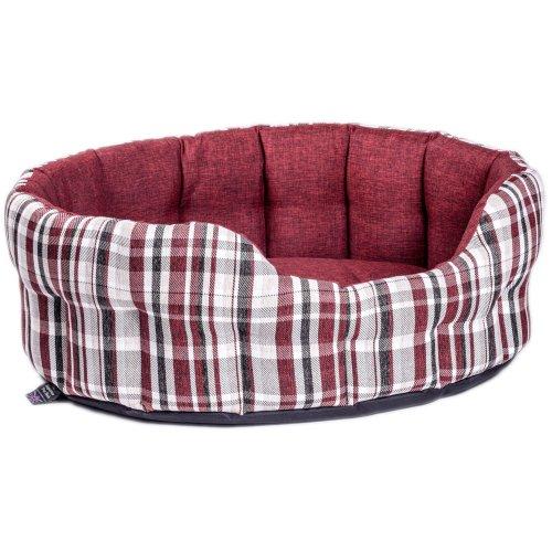 Premium Heavy Duty Antibacterial Oval Drop Front Softee Bed Plaid Design Wine Size 5 76x64x24cm