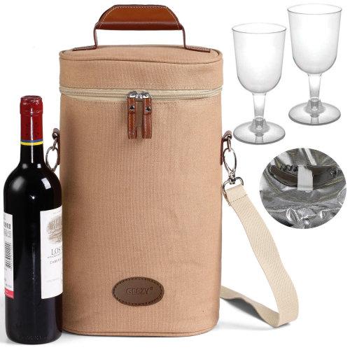 Bottle Cooler Bag with Wine Glasses & Bottle Opener