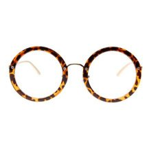 Retro Round Glasses Frames Fashion Flat Glasses -Leopard
