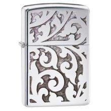 High Polish Chrome Filigree Zippo Lighter - Windproof Pocket Polished -  windproof lighter chrome filigree high pocket polished