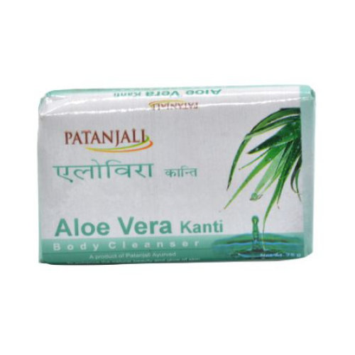 5 Pack Patanjali Aloe Vera Kanti - Body Cleanser Soap, 75 gms each
