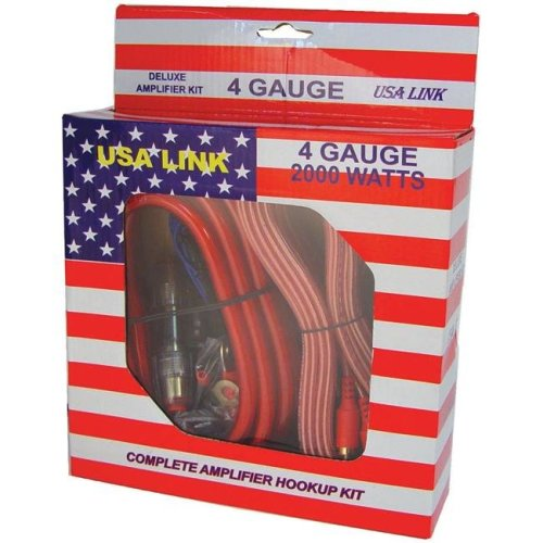 Qpower 4GAUGE USA Link 4 gauge Amplifier Wiring Kit with RCA Cables