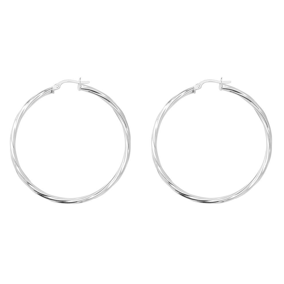 85c7f2950 Sterling Silver 44MM Twisted Hoop Earrings on OnBuy