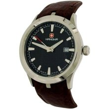 Swiss Military Mens Hanowa Date Brown Leather Strap Watch 16-4003.7.04.007.05