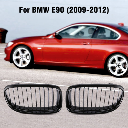 2* Front Grille Kidney Bumper Grill Gloss Black For BMW E90 2009-2012