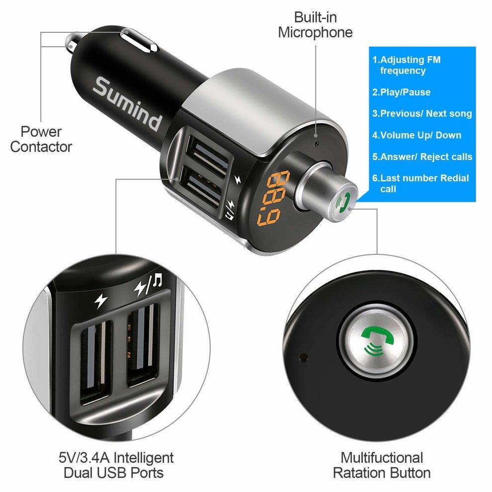 Car Bluetooth FM Transmitter, FM Radio Adapter Bluetooth FM