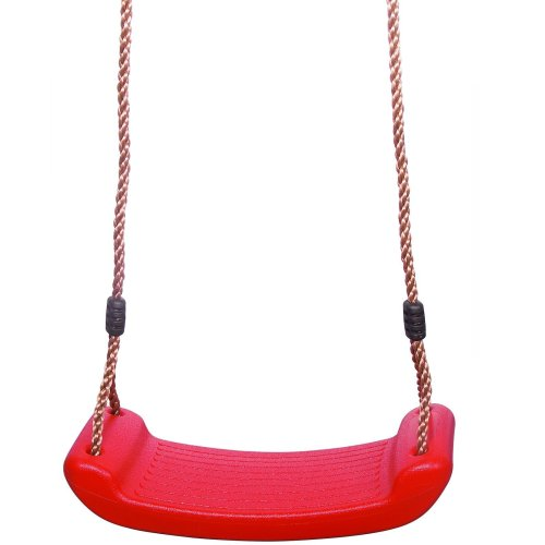 Childrens Kids Red Plastic Rope Swing Seat Hanging Outdoor Garden Mounting Bench
