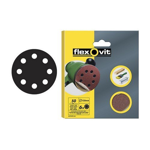Flexovit 63642526390 Hook & Loop Sanding Discs 125mm Medium 80g Pack of 6
