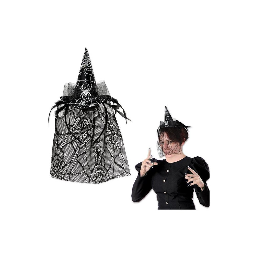 56e676d0c3e The Beistle 00332 Spider Witch Hat Headband with Veil - Pack of 12 on OnBuy