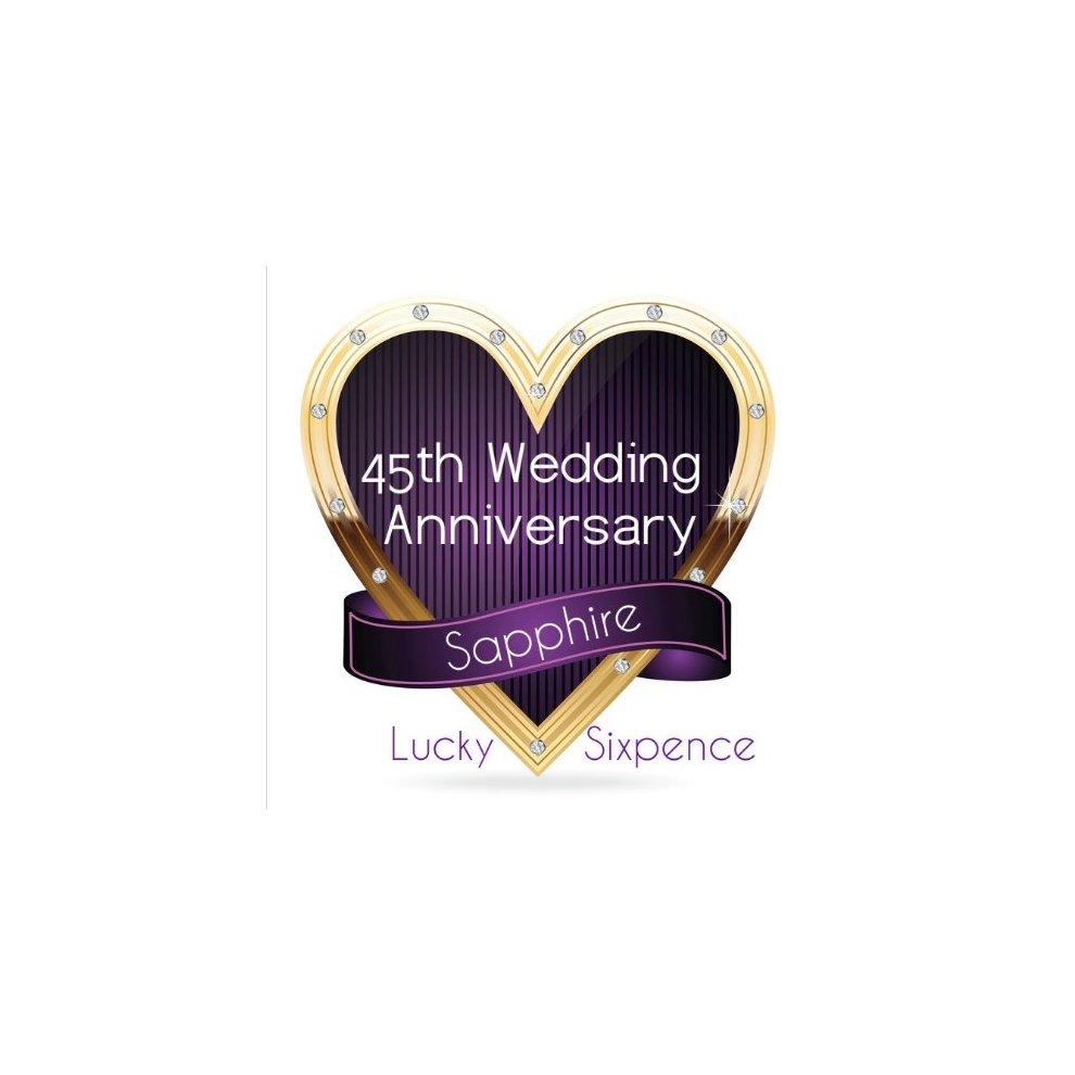45th Wedding Anniversary Gift.Lucky Silver Sixpence Coin Sapphire 45th Wedding Anniversary Gift Great Present Idea