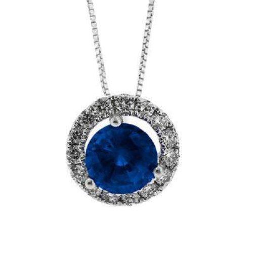 Round Ceylon Sapphire & Diamonds Pendant Necklace 3.50 Ct White Gold