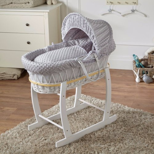 Grey Dimple White Wicker Moses Basket And White Rocking Stand