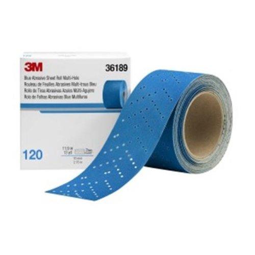 3M 3M-36189 2.75 in. x 13 Yards Hookit Blue Abrasive Sheet Roll Multi-Hole, 120 Grade