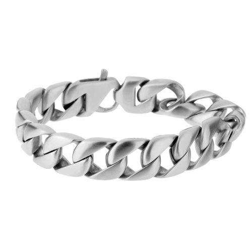 Urban Male 'Munich' Matte Stainless Steel Modern Curb Link Bracelet for Men